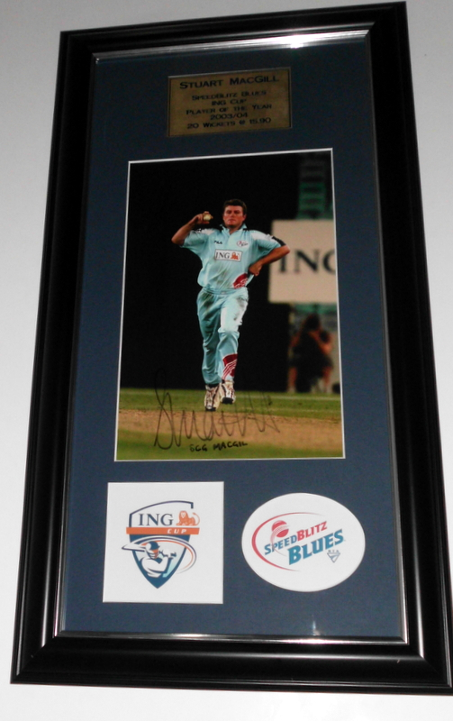 SCG MacGill NSW Blues ING Cup 2003-2004 Player of the Year Signed Photo Piece