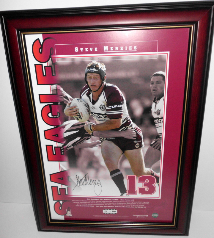 "Steve Menzies Personally Signed ""13"", Manly-Warringah Sea Eagles"
