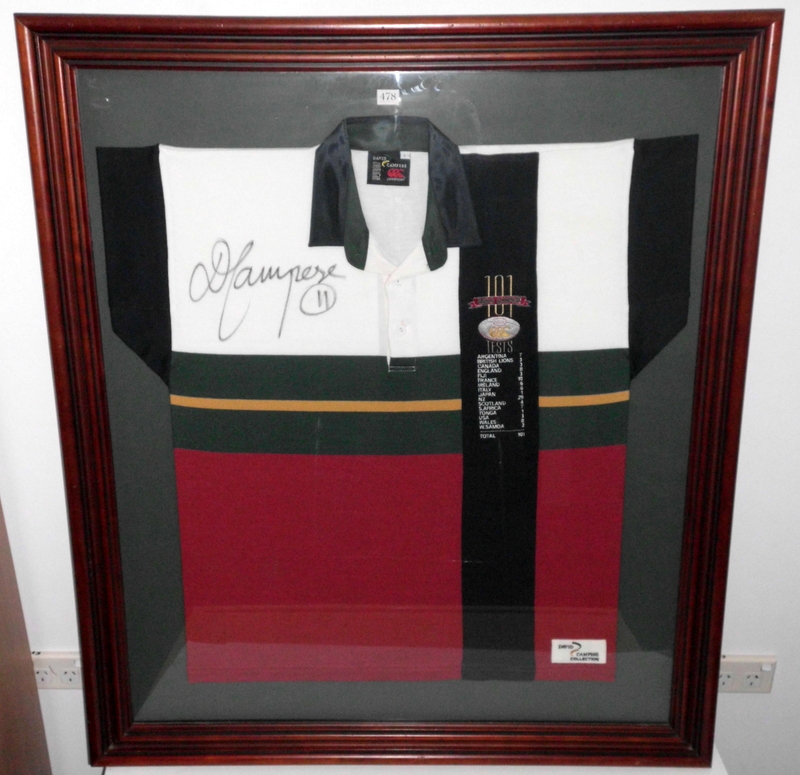 "David Campese Personally Signed ""David Campese 100 Tests"" Jersey, Framed"