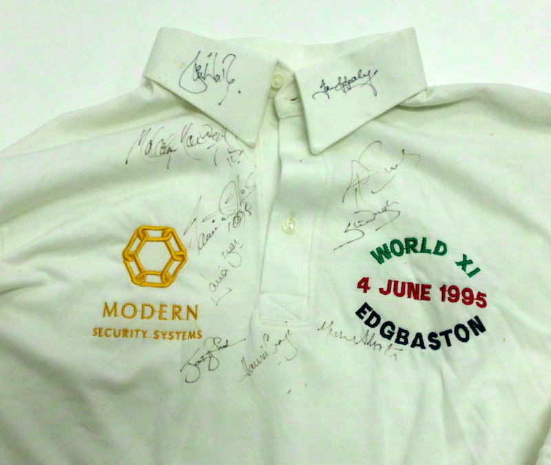 Shane Warne Match-Worn Shirt, Rest of the World XI, Team Signed, 1995