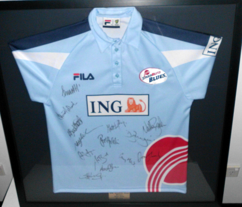 NSW Blues Team-Signed Shirt, 2004-2005 ING Cup Team, Framed
