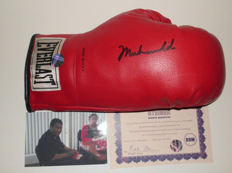 Muhammad Ali Hand Signed Boxing Glove, Fully Certified