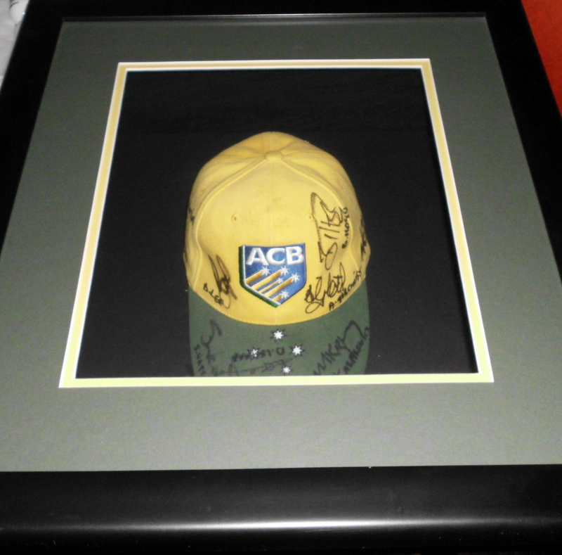 ACB Cap Hand Signed by Gilchrist, Ponting, Lee, Clarke and More, Framed