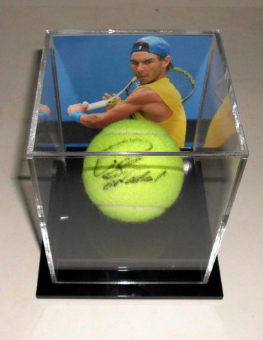 Rafael Nadal Personally Signed Tennis Ball in Display Cube