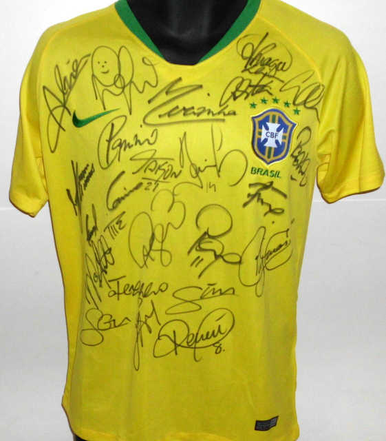 Brazil 2018 FIFA World Cup Team Signed Jersey
