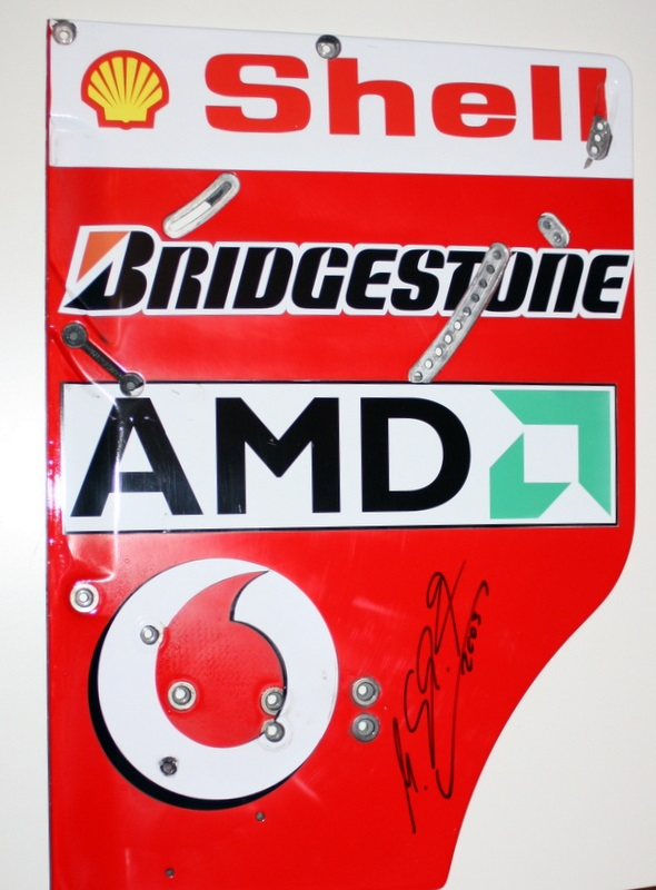 Michael Schumacher Signed, Used 2003 World Champ Ferrari Rear Wing End Plate F2003 GA/1