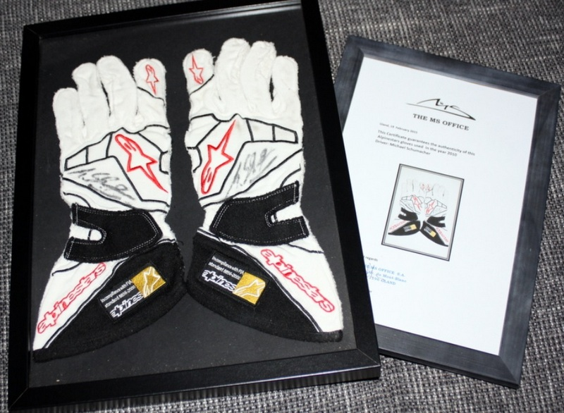 Michael Schumacher Race Worn, Signed Alpinestar Gloves, 2010 F1 Season