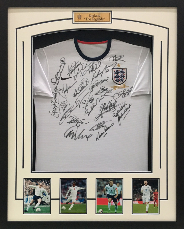 "England ""The Legends"" Personally Signed Jersey - Charlton, Lineker, Beckham"