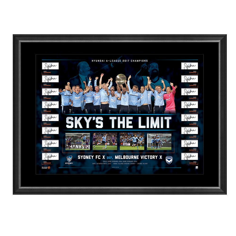 Sydney FC 2017 A League Champions Team Signed Lithograph, Framed - OVERSTOCK SPECIAL!
