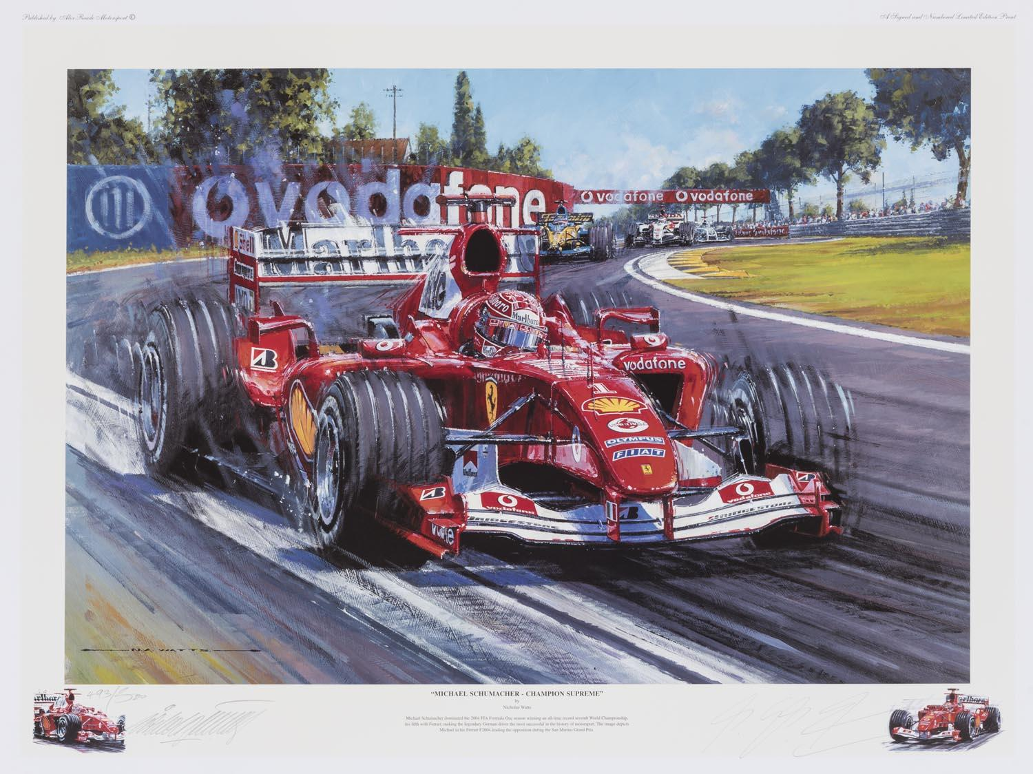 "Michael Schumacher ""Champion Supreme"" 2004 Print, Personally Signed by MS and the Artist, Ltd Ed"