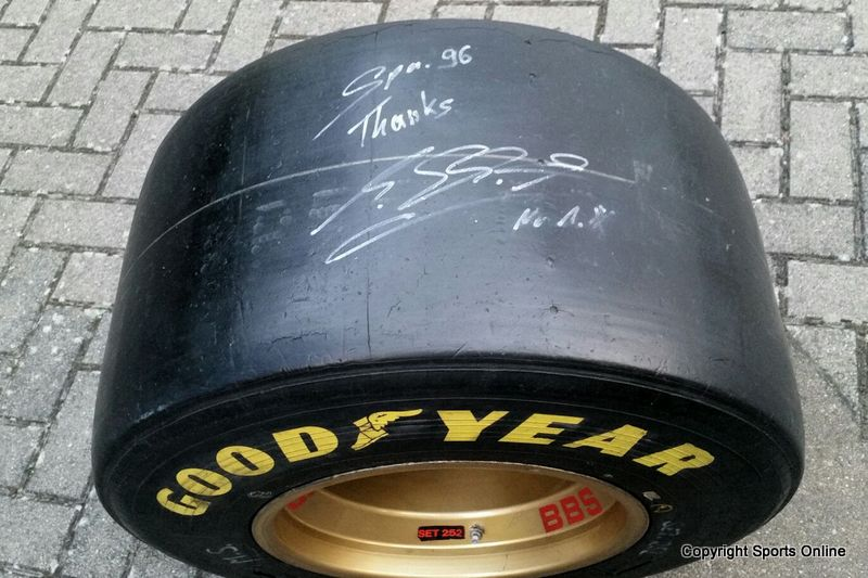 Michael Schumacher Race Worn, Signed and Inscribed Tyre - 1996 Belgium Grand Prix, Spa