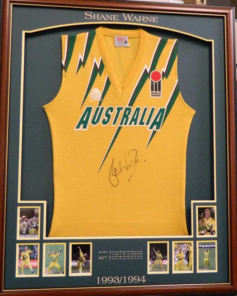 Shane Warne Signed Match-Worn Australian One Day International Jumper, Framed