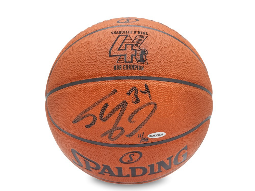 Shaquille O'Neal Hand Signed 4 X NBA Champion Inscribed Basketball, L/Ed OF 50, UDA