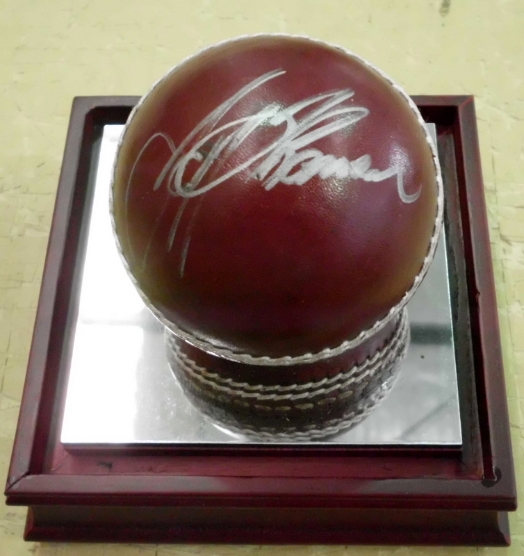 Jeff Thomson and Len Pascoe Dual-Signed Cricket Ball in Perspex Case