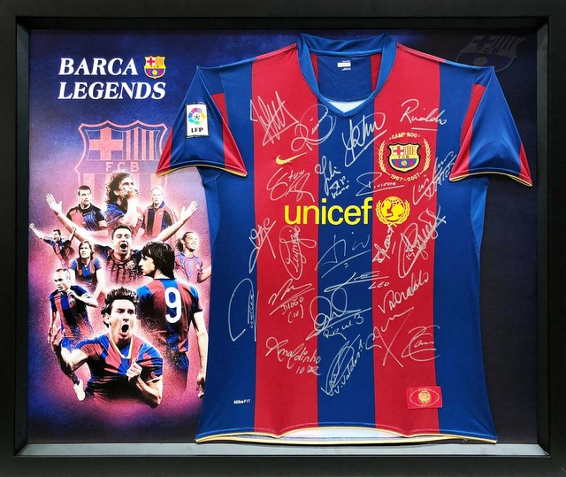 Barcelona Legends Personally Signed Jersey - Ronaldinho, Messi, Ronaldo