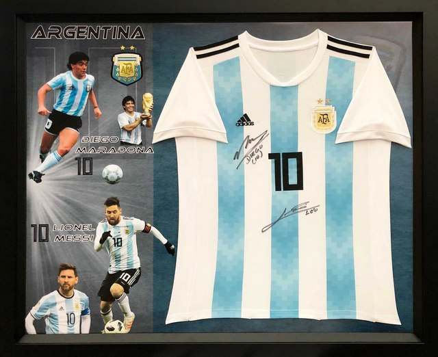 Diego Maradona and Lionel Messi Personally Signed Argentina Jersey