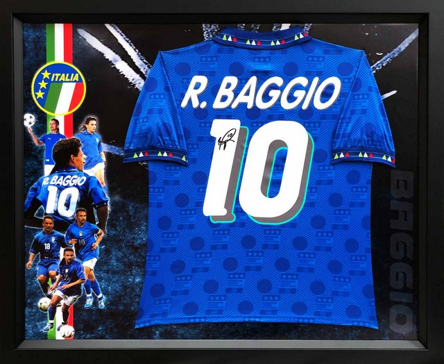 Roberto Baggio Personally Signed Italy Jersey