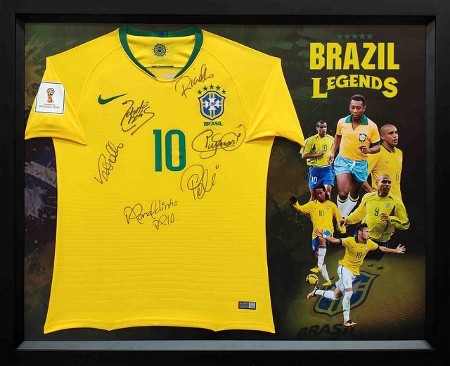 Brazil Football Legends Personally Signed Jersey - Pele, Ronaldo, Ronaldhino