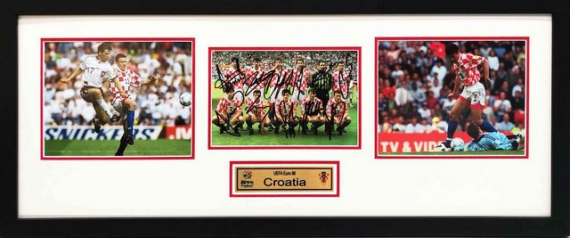 Croatia Euro 1996 Team Signed Photo, Framed - Suker, Bilic, Boban