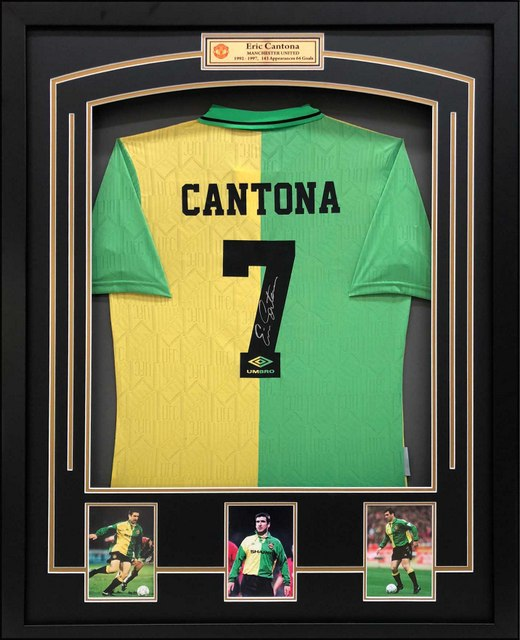 "Eric Cantona Personally Signed Manchester United ""Newton Heath Retro Jersey"", Framed"