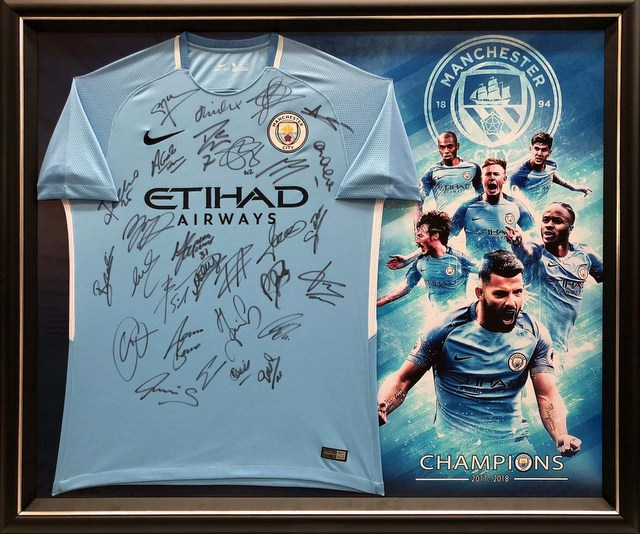 Manchester City 2017-2018 Team Signed Jersey - Aguero, Toure, Guardiola