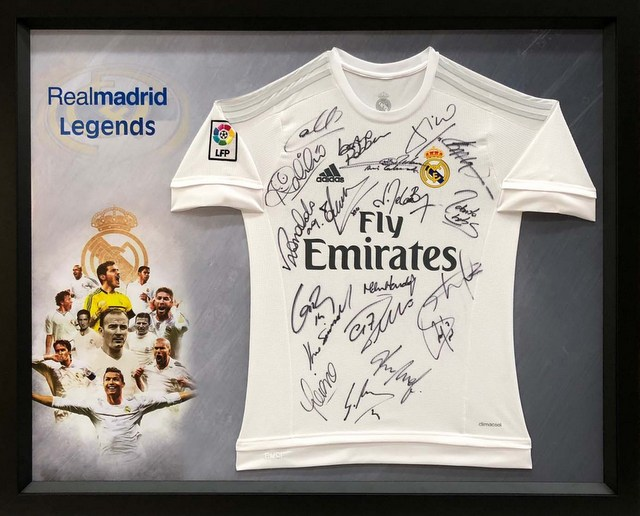 "Real Madrid ""The Legends"" Hand-Signed Jersey - Figo, Roberto Carlos, Laudrup"