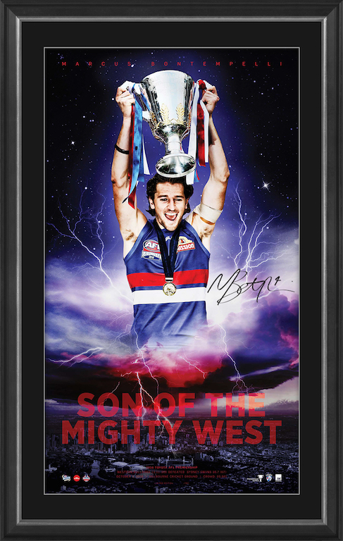 "Marcus Bontempelli ""Son of the Mighty West"", Personally Signed Western Bulldogs Lithograph, Framed"