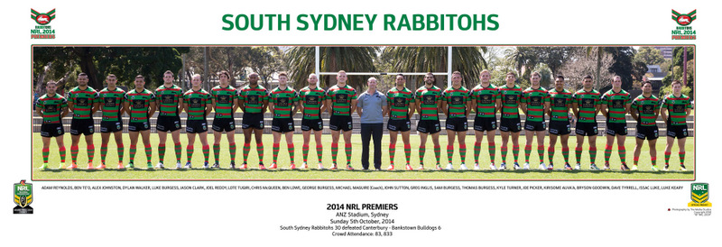 NRL Premiers 2014 - South Sydney Rabbitohs - Team Panoramic, Framed