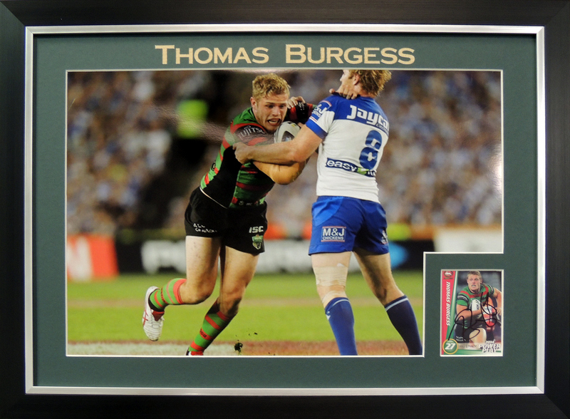 "Thomas Burgess South Sydney Rabbitohs Personally Signed ""Card Series"", Framed"