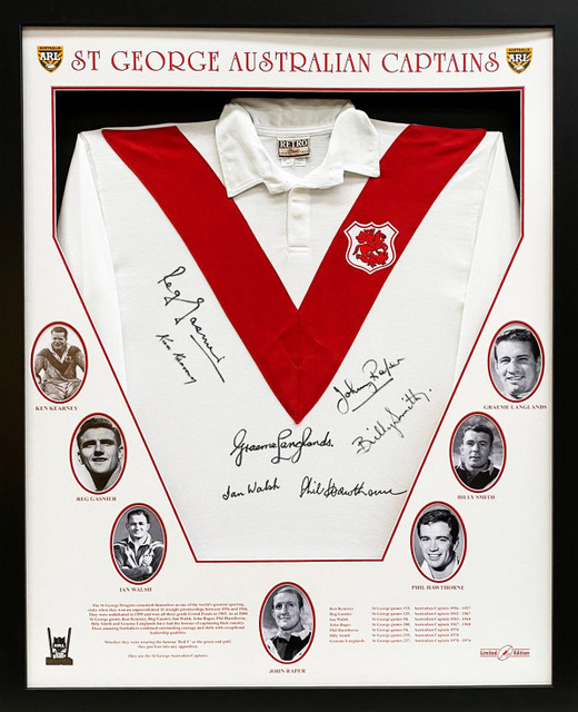 "St George Dragons ""Australian Captains"" Personally Signed Jersey, Framed - Signed by 6 Legends"