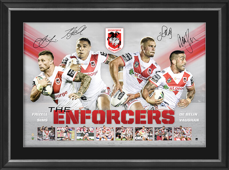 St George Illawarra Dragons Hand Signed 'Enforcers', Framed