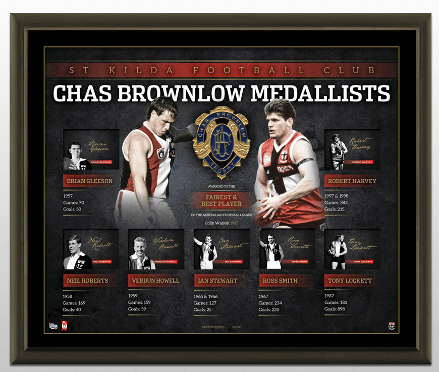 St Kilda History of The Brownlow Medal Signed Deluxe Lithograph – Framed