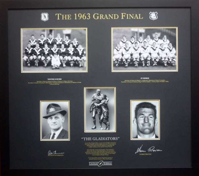 The 1963 Gladiators Norm Provan and Arthur Summons Signed Photo Framed