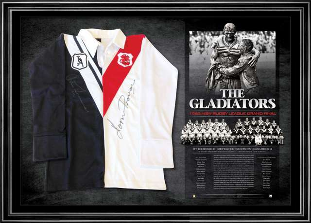 The 1963 Gladiators Norm Provan and Arthur Summons Signed Split Jersey Framed