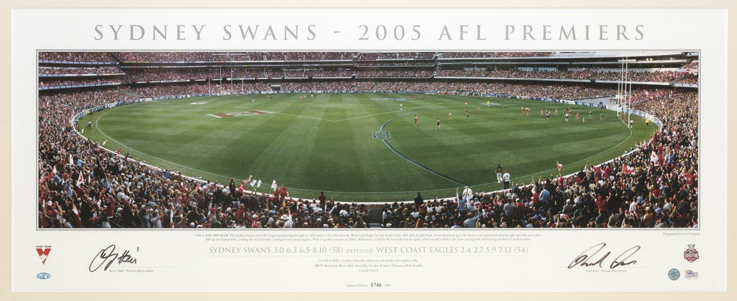 Sydney Swans 2005 Premiers Panoramic Personally Signed by Paul Roos and Barry Hall, Framed