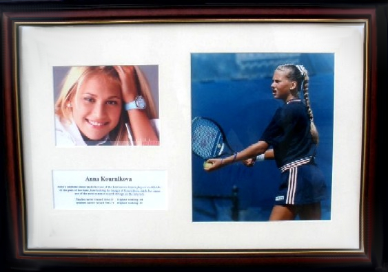 Anna Kournikova signed photographic display, Framed