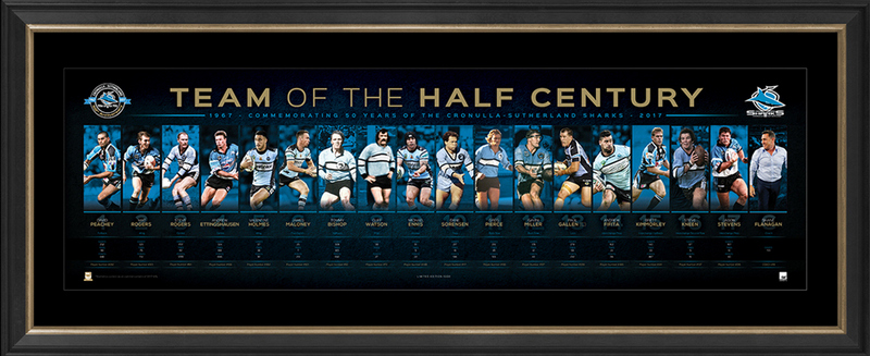 Cronulla Sharks Team of the Half Century Sportsprint, Framed