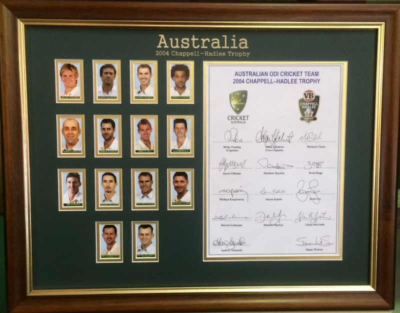 Australian Cricket Team 2004 Hand-Signed Team Sheet, Framed