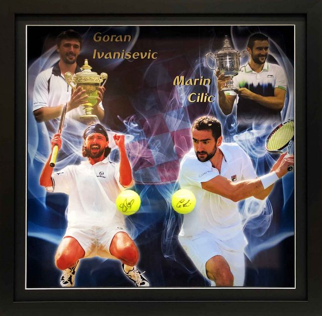 "Maran Cilic and Goran Ivanisevic Hand Signed ""Grand Slam Legends"" Framed Display"