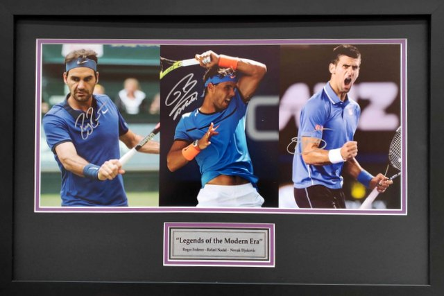Legends of the Modern Era - Personally Signed by Federer, Nadal and Djokovic, Framed
