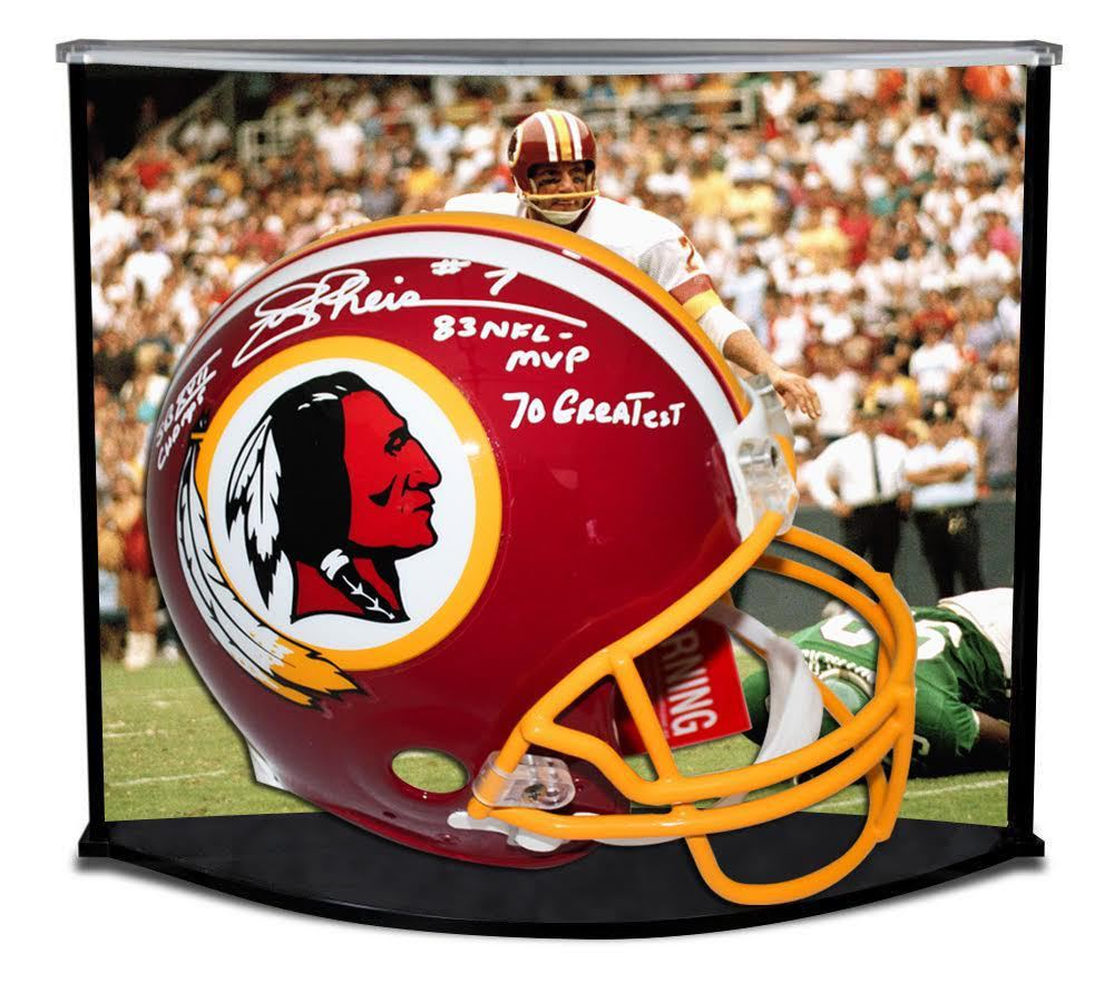JOE THEISMANN AUTOGRAPHED / INSCRIBED REDSKINS PROLINE HELMET W/ CUSTOM DESIGNED CURVE DISPLAY STEINER LE 7