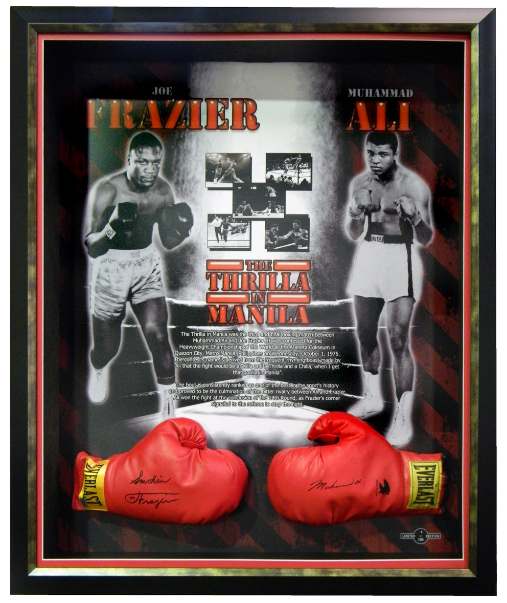 'The Thrilla in Manila' Signed by Muhammad Ali and Joe Frazier, Framed
