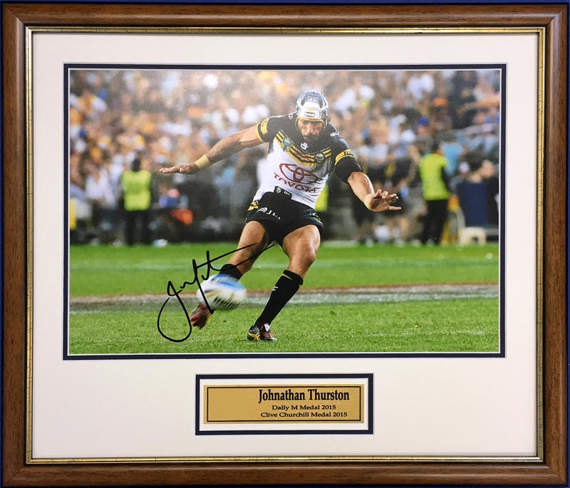 "Johnathan Thurston ""The Immortal Moment"", North Qld Cowboys and Qld Origin, Signed, Framed"