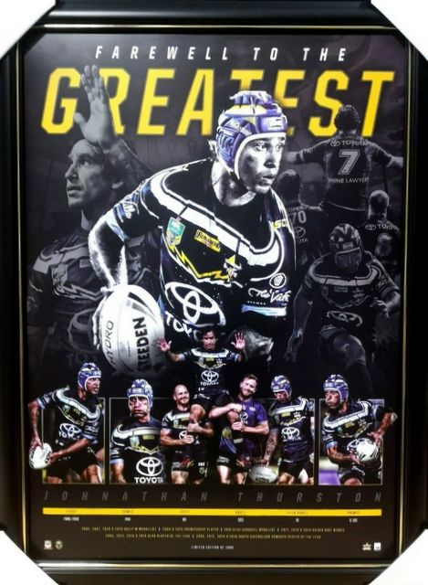 Johnathan Thurston North Queensland Greatest Retirement Official NRL Print Frame