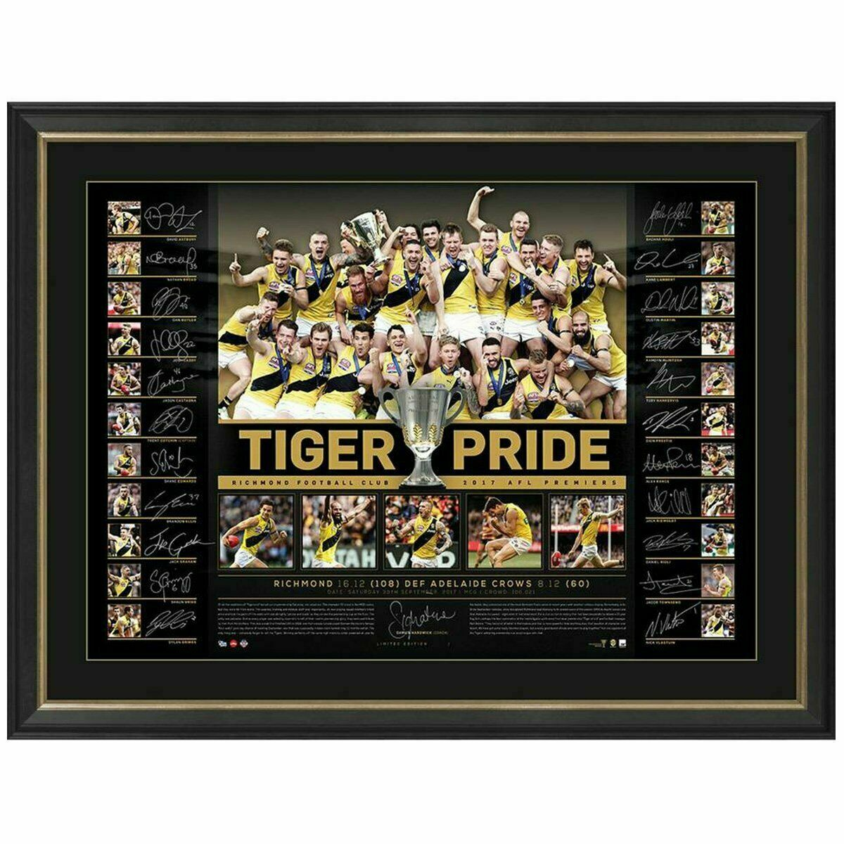 "Richmond Tigers 2017 AFL Premiers Team Signed ""Tigers Pride"" Lithograph, Framed"