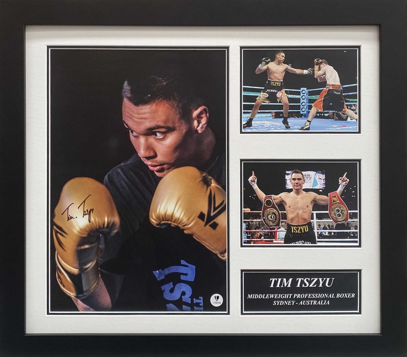 "Tim Tszyu Personally Signed ""Champion"" Collage, Framed"