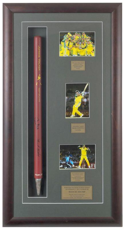Australia v World XI 2005 Super Series MATCH-USED Stump, Personally Signed by Ponting and Pollock, Framed
