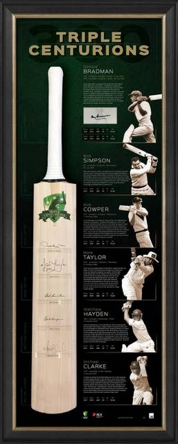 The Triple Centurions Personally Signed Bat Display - Bradman, Taylor, Clarke, Simpson