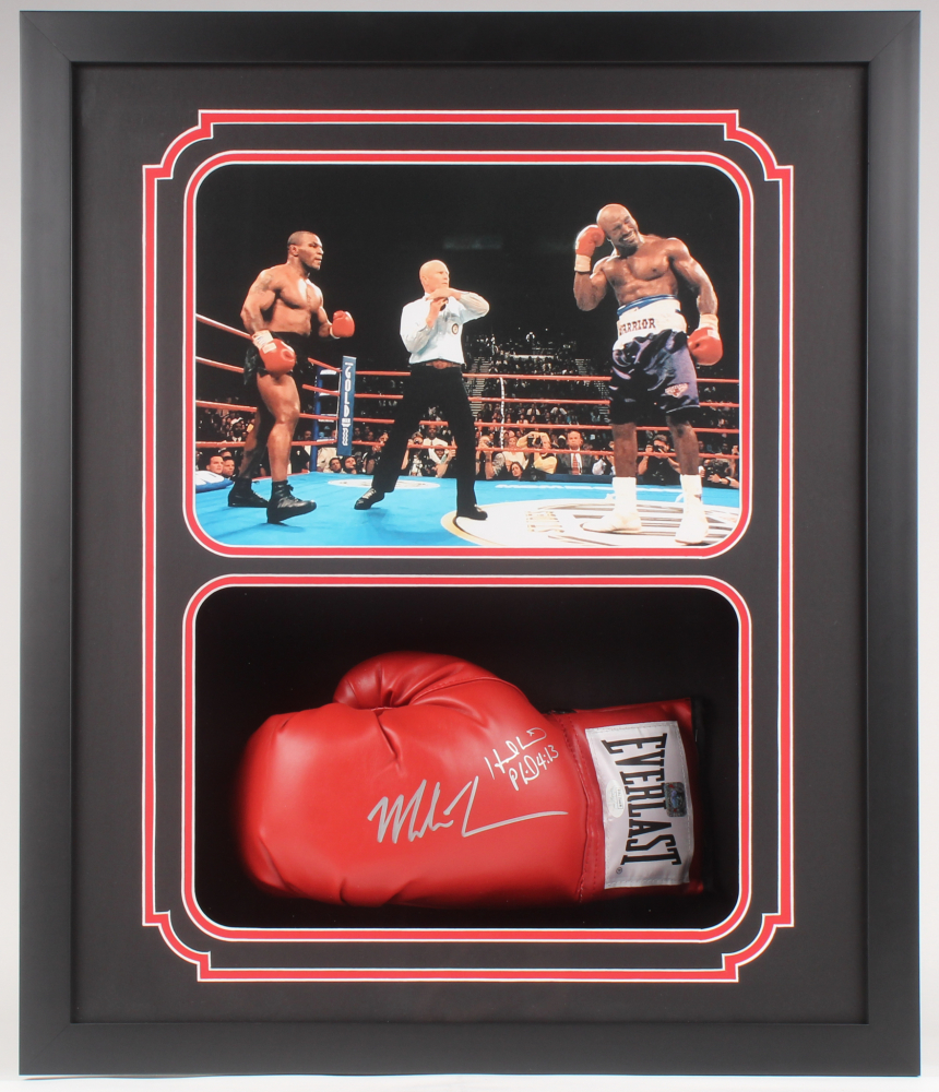 "Mike Tyson and Evander Holyfield Dual-Signed ""The Bite Fight"" Glove, Framed"