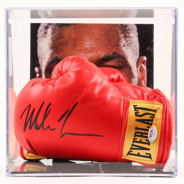 Mike Tyson Personally Signed Glove With Matching Glove in Display Case